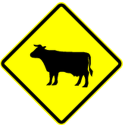 Traffic sign of Panama: Warning for cattle on the road