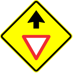 Traffic sign of Panama: Give way ahead