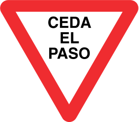 Traffic sign of Panama: Give way to all drivers