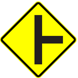 Traffic sign of Panama: Warning for an uncontrolled crossroad with a road from the right