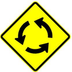 Traffic sign of Panama: Warning for a roundabout