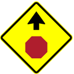 Traffic sign of Panama: Stop and give way ahead