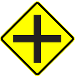 Traffic sign of Panama: Warning for an uncontrolled crossroad
