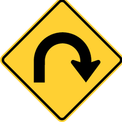 Traffic sign of Panama: Warning for a U-turn