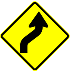 Traffic sign of Panama: Warning for a double curve, first right then left