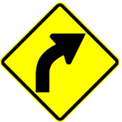 Traffic sign of Panama: Warning for a curve to the right