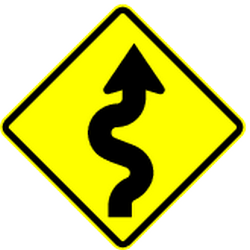 Traffic sign of Panama: Warning for curves