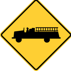 Traffic sign of Panama: Warning for emergency vehicles