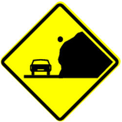 Traffic sign of Panama: Warning for falling rocks