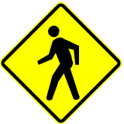 Traffic sign of Panama: Warning for pedestrians