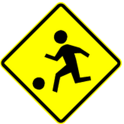 Traffic sign of Panama: Warning for a playground