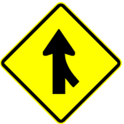 Traffic sign of Panama: Warning for two roads that merge