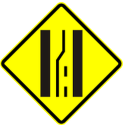 Traffic sign of Panama: Warning for a road narrowing on the left