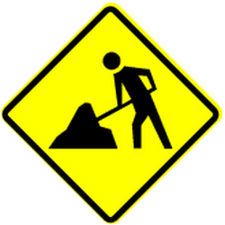 Traffic sign of Panama: Warning for roadworks