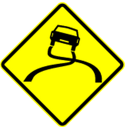Traffic sign of Panama: Warning for a slippery road surface