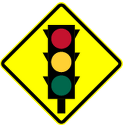 Traffic sign of Panama: Warning for a traffic light