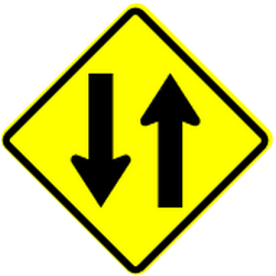 Traffic sign of Panama: Warning for a road with two-way traffic