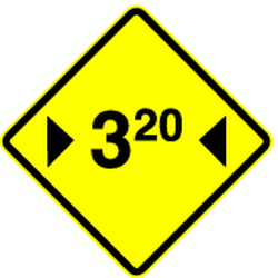 Traffic sign of Panama: Warning for a limited width