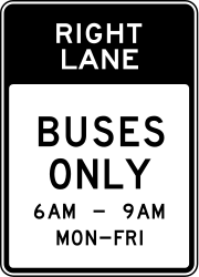 Traffic sign of United States: Lane for buses