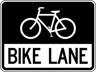 Traffic sign of United States: Lane for cyclists