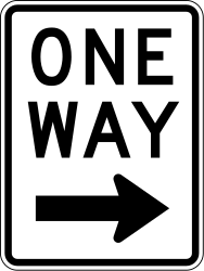 Traffic sign of United States: Road with one-way traffic