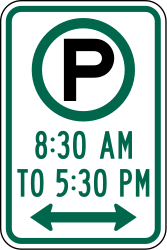 Traffic sign of United States: Parking is allowed