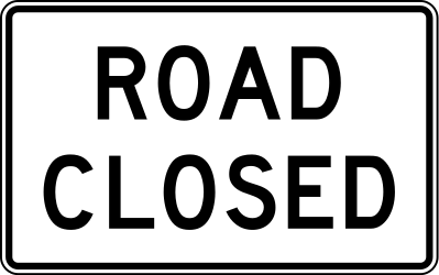 Traffic sign of United States: The road is closed