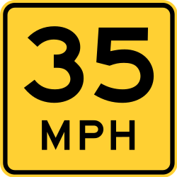 Traffic sign of United States: Recommended speed