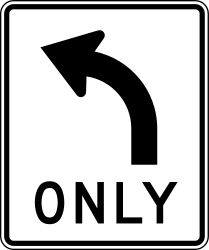 Traffic sign of United States: Turning left mandatory