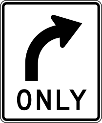Traffic sign of United States: Turning right mandatory
