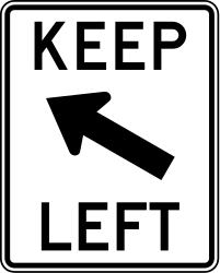 Traffic sign of United States: Passing left mandatory
