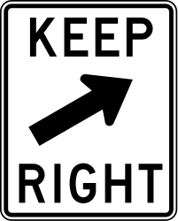Traffic sign of United States: Passing right mandatory
