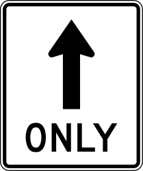 Traffic sign of United States: Driving straight ahead mandatory