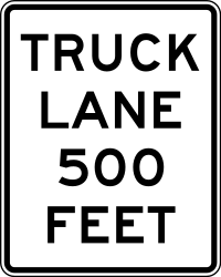 Traffic sign of United States: Mandatory lane for trucks