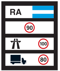 Traffic sign of Argentina: National speed limits
