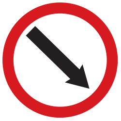 Traffic sign of Argentina: Passing right mandatory