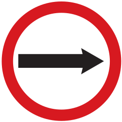 Traffic sign of Argentina: Mandatory right