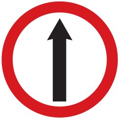 Traffic sign of Argentina: Driving straight ahead mandatory