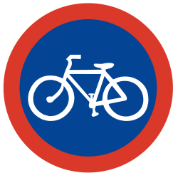 Traffic sign of Argentina: Mandatory path for cyclists