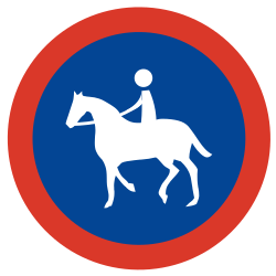 Traffic sign of Argentina: Mandatory path for equestrians