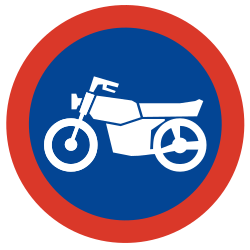 Traffic sign of Argentina: Mandatory path for motorcycles