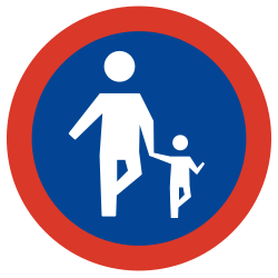 Traffic sign of Argentina: Mandatory path for pedestrians