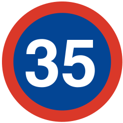 Traffic sign of Argentina: Begin of a minimum speed