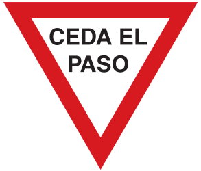 Traffic sign of Argentina: Give way to all drivers