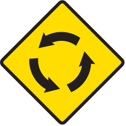 Traffic sign of Argentina: Warning for a roundabout