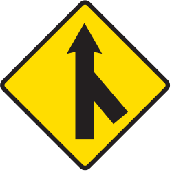 Traffic sign of Argentina: Warning for a crossroad with a sharp side road on the right