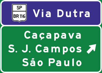 Traffic sign of Brazil: Information about the destination of the ramp
