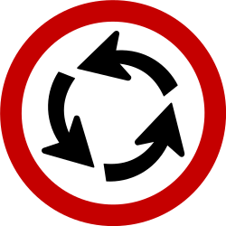 Traffic sign of Brazil: Mandatory direction of the roundabout
