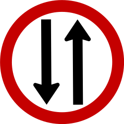 Traffic sign of Brazil: Road with two-way traffic