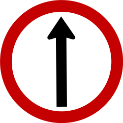 Traffic sign of Brazil: Driving straight ahead mandatory